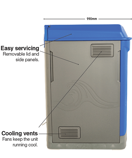 Easy servicing and Cooling vents - 990mm deep